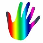 hand in regenbogenfarben