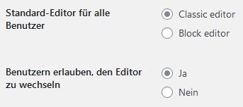 gambit einstellungen Block editor